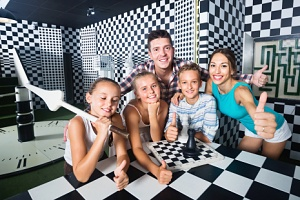 family and kids enjoying an escape room party